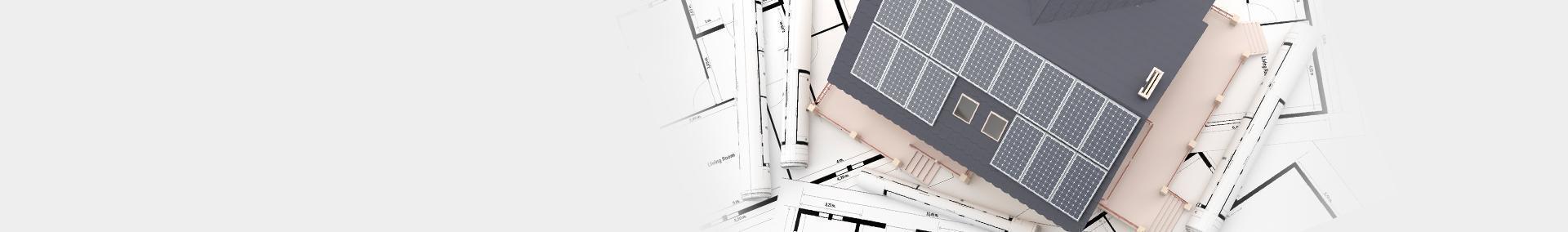 Projekty architektoniczne, makieta dachu z solarami